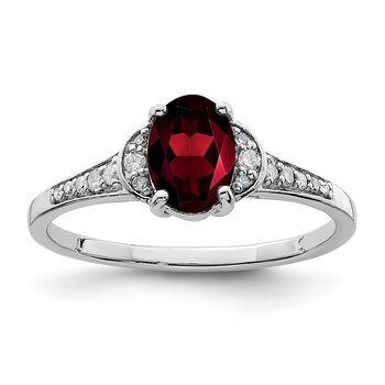 Sterling Silver Rhodium-plated Diamond & Garnet Ring