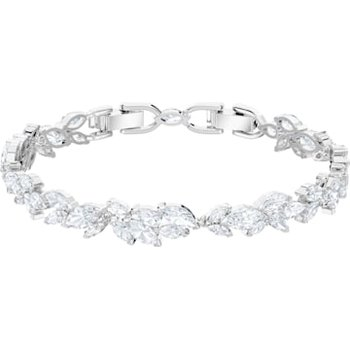 Louison Bracelet, White, Rhodium plated