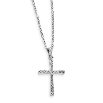 Sterling Silver Diamond Mystique 18in Cross Necklace
