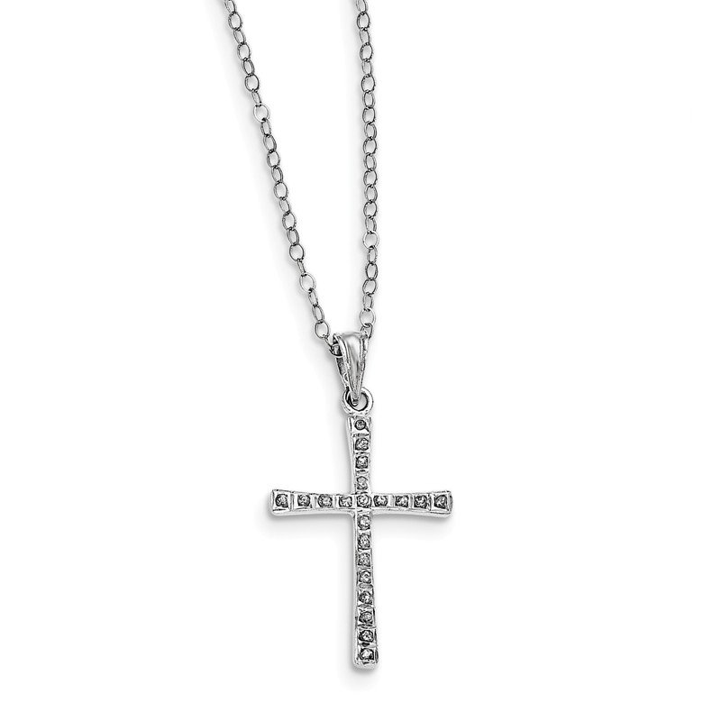 Quality Gold Sterling Silver Diamond Mystique 18in Cross Necklace
