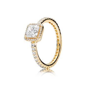 Timeless Elegance Ring, 14K Gold Clear Cz