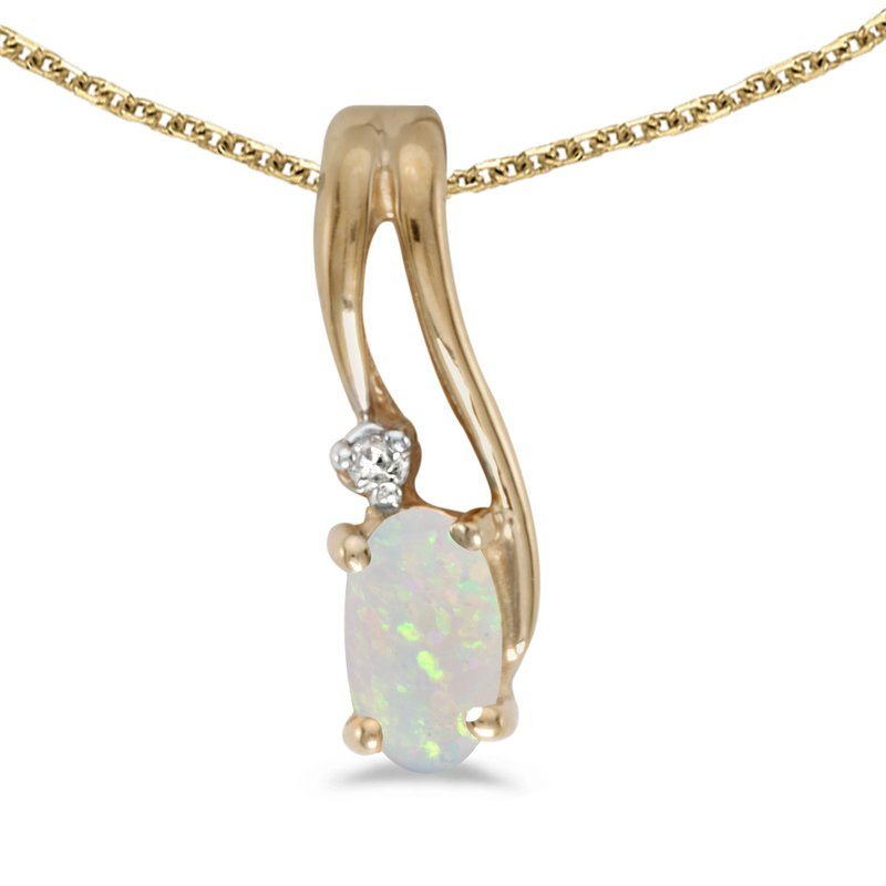 Color Merchants 10k Yellow Gold Oval Opal And Diamond Wave Pendant