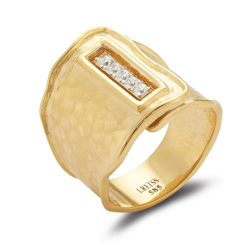 I. Reiss 14K-Y REC. BUTTON CUFF RING, 0.20CT