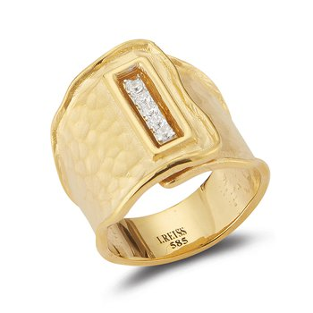 14K-Y REC. BUTTON CUFF RING, 0.20CT
