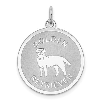 Sterling Silver Rhodium-plated Golden Retriever Disc Charm