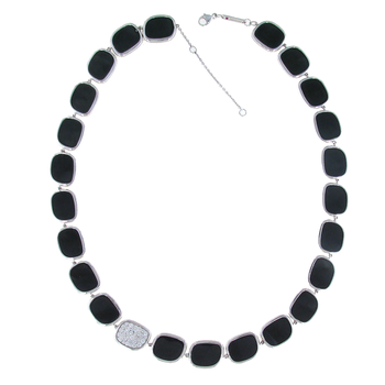 18KT GOLD NECKLACE WITH BLACK JADE AND DIAMONDS