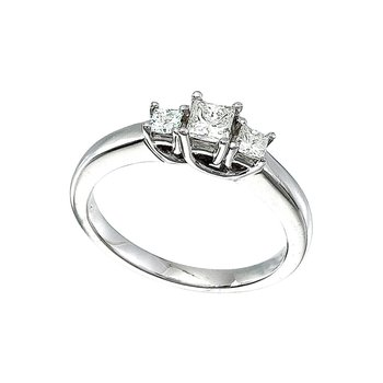 14k White Gold 0.50 Ct Three Stone Trellis Diamond Ring