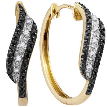 10kt Yellow Gold Womens Round Black Color Enhanced Diamond Hoop Earrings 1/5 Cttw