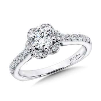 Six-Prong Floral Halo Diamond Engagement Ring