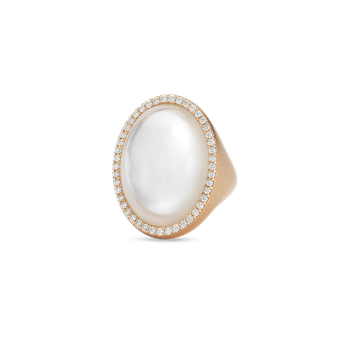Ring With Diamonds, Crystal And Mother Of Pearl