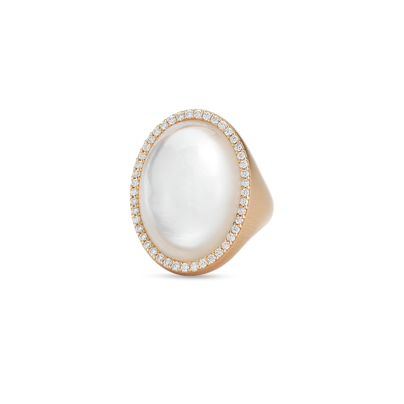 Roberto Coin Ring With Diamonds, Crystal And Mother Of Pearl