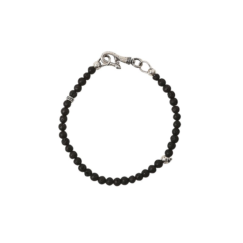 John Varvatos Silver and Lava Bead Bracelet