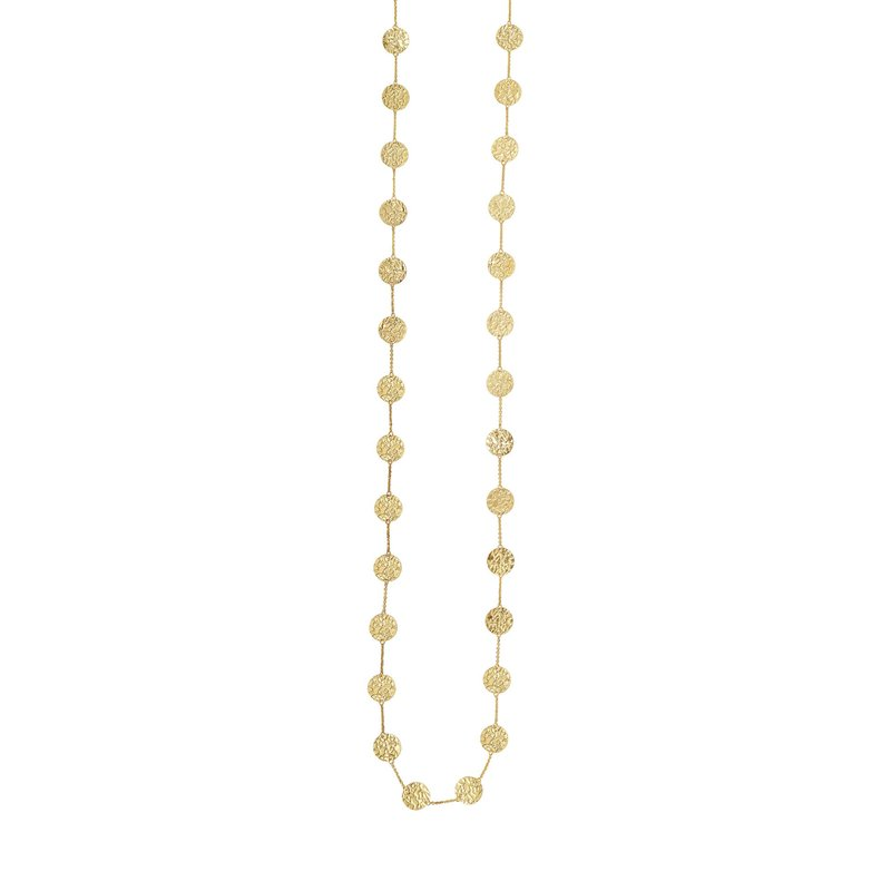Royal Chain 14K Gold Hammered Disc Long Necklace