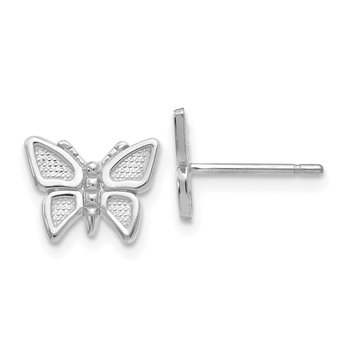 14k White Gold Butterfly Earrings