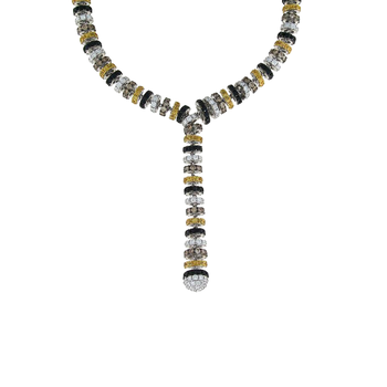 18Kt Gold White Diamonds, Black And Yellow Sapphire Y Necklace