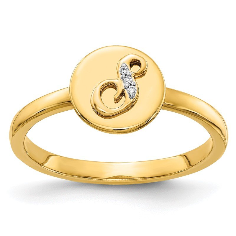 Quality Gold 14k White Gold Diamond Initial S Ring