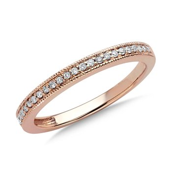 Pave set Diamond Stackable Ring in 10k Rose Gold (1/10ct. tw.)