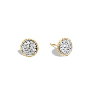 Classic Chain 10MM Stud Earring in 18K Gold with Diamonds
