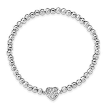 Sterling Silver Rhod-plated CZ Heart Beaded Stretch Bracelet