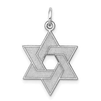 14K White Gold Laser Designed Star of David Pendant