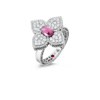 18K Diamond & Rubellite Flower Ring