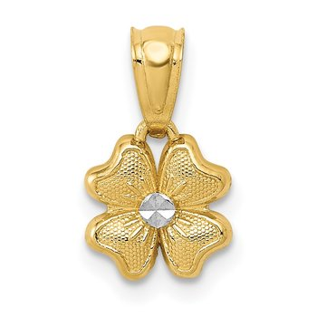 14k w/Rhodium Small Flower Charm