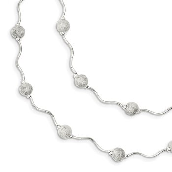 Sterling Silver Double Spiral and Laser Cut Bead Necklace