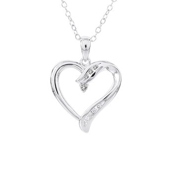 Sterling Silver 1/10ct Diamond Heart Necklace