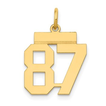 14k Small Polished Number 87 Charm