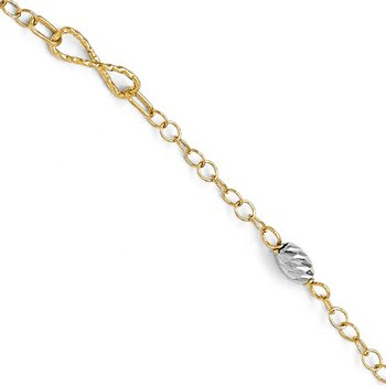 Leslie's 14k Two-tone Polished and Diamond-cut Bracelet