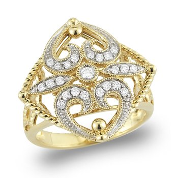 14K Gold and Diamond filigree Ring