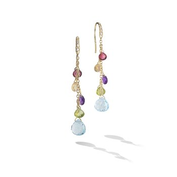 Paradise Collection 18K Yellow Gold Diamond and Mixed Gemstone Medium Drop Earrings