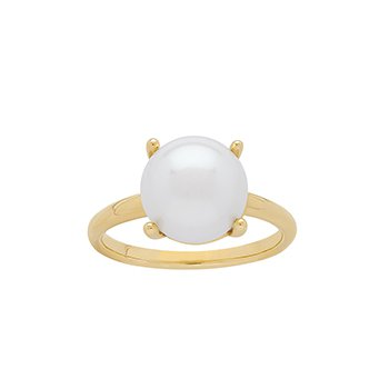 Honora 14KY 10-10.5mm White Button Freshwater Cultured Pearl Ring