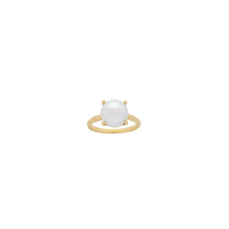 Honora Honora 14KY 10-10.5mm White Button Freshwater Cultured Pearl Ring