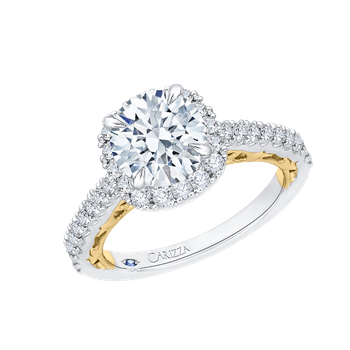 18K Two-Tone Gold Round Diamond Halo Engagement Ring (Semi-Mount)