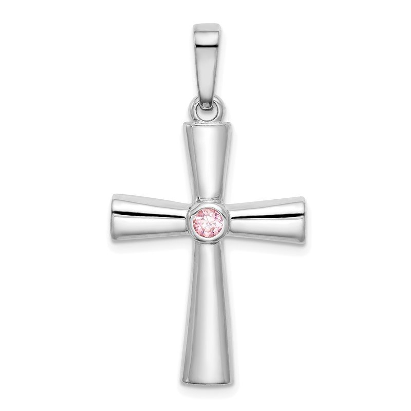 Quality Gold Sterling Silver Rhodium-plated Pink CZ Cross Pendant