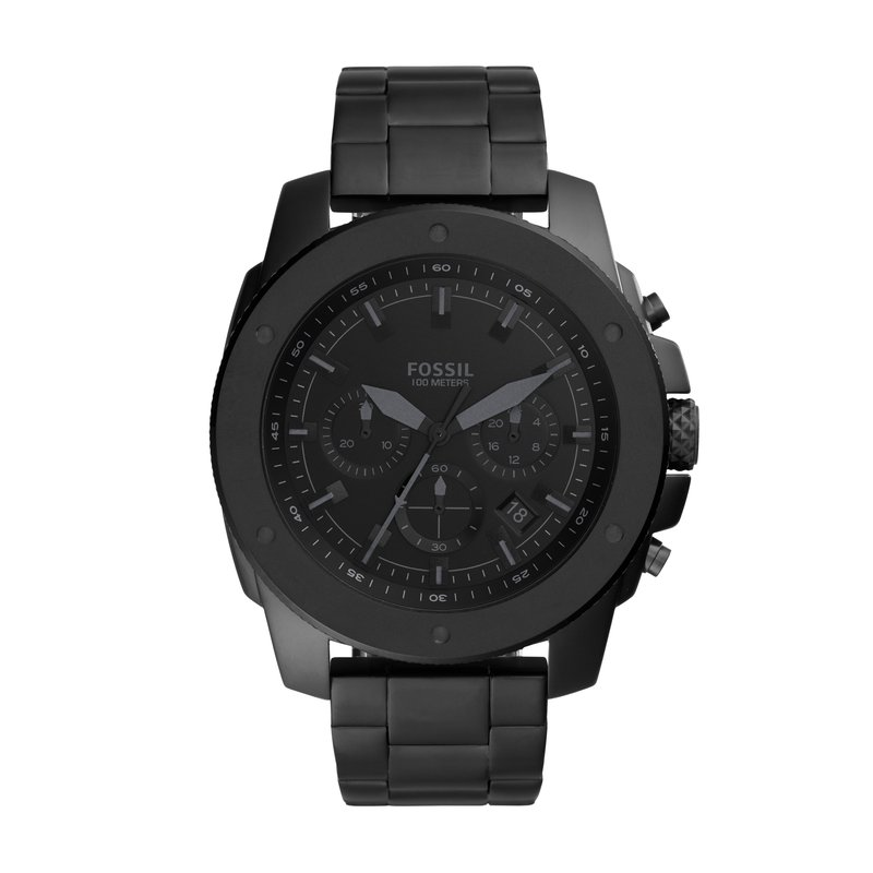Fossil Mega Machine Chronograph Black Stainless Steel Watch