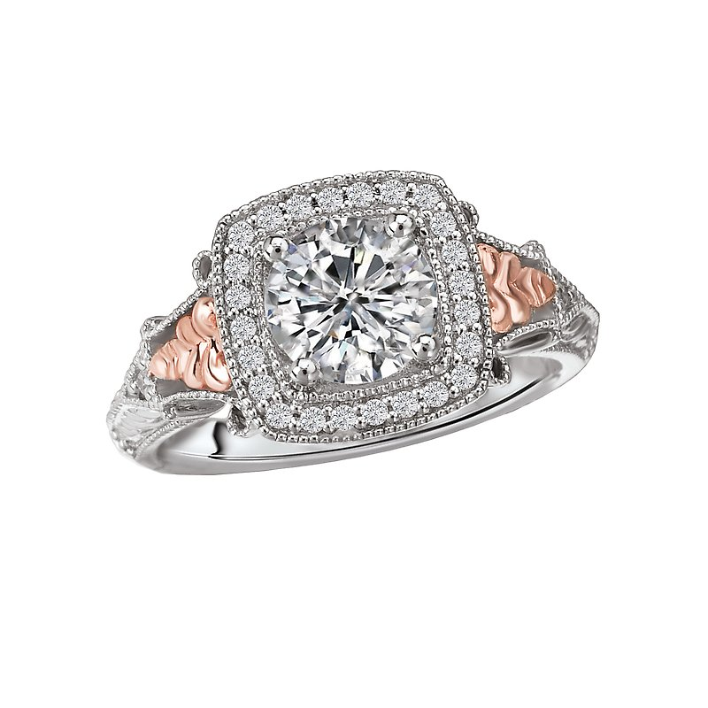 LaVie Two-Tone Halo Semi-Mount Ring