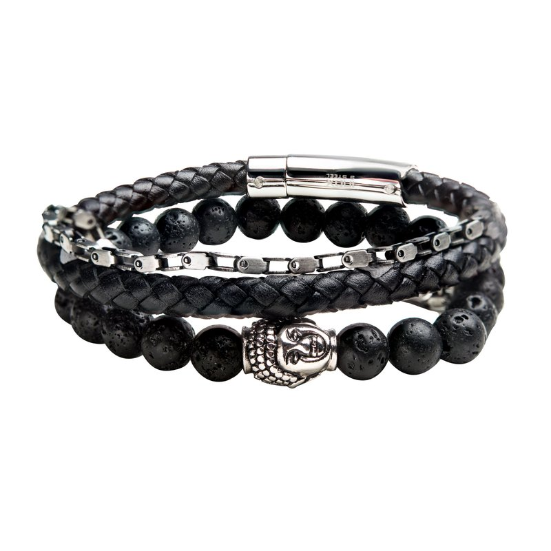 INOX Mechanical Box Chain, Black Lava Satin Bead and Black Braided Leather Stackable Bracelets