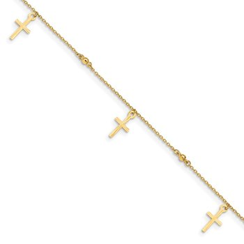 14k Polished and Textured Cross 9in Plus 1in ext. Anklet