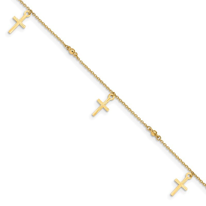 Quality Gold 14k Polished and Textured Cross 9in Plus 1in ext. Anklet