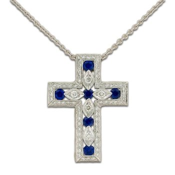 Sapphire and Cross Pendant