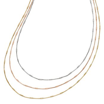 Leslie's Sterling Silver Rose & Yellow Gold-plated 3 Strand Necklace