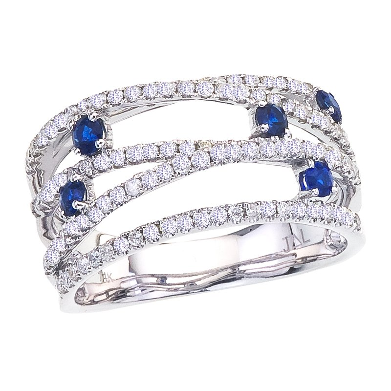 Color Merchants 14k White Gold Sapphire and Diamond Bypass Ring