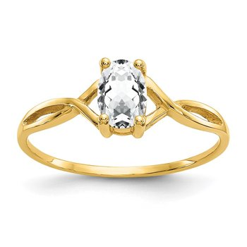 14k White Topaz Birthstone Ring