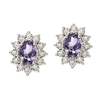 Silver Diamond & Tanzanite Earrings
