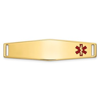 14K Epoxy Enameled Medical ID Off Ctr Soft Diamond Shape Plate # 817