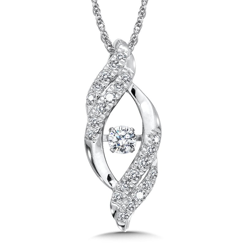 SDC Creations Dancing Diamond Bypass Pendant in 14K White Gold with Chain