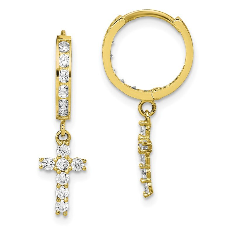 10K CZ Cross Hinged Hoop Earrings