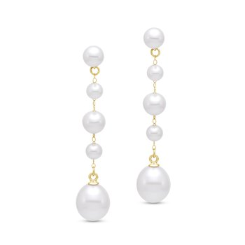 Rosary-Style Pearl Drop Earrings